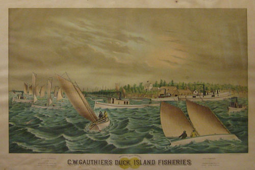 GAST, A. & CO. (Publisher). C.W. Gauthier's Duck Island Fisheries. Awarded Gold Medal, London, 1883. Capacity Of Warehouses Bay City 250 Tons Frozen Fish Monroe 150 Tons Frozen Fish Capacity Of Warehouses Sandwich 250 Tons Frozen Fish Detroit 150 Tons Frozen Fish. A. Gast & Co. St. Louis & N.Y. [c1884].