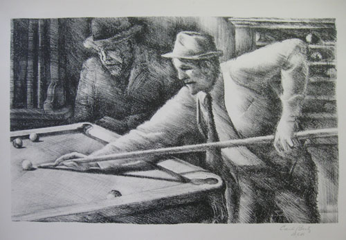 (20th CENTURY). BEETZ, Carl Hugo [1911-1974] (California Society of Etchers & California Watercolor Society). [Pool Players]. signed in pencil 'Carl Beetz B.E.B.'].